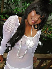 Hot emo Thai girlfriend in white sheer shirt poses and strips