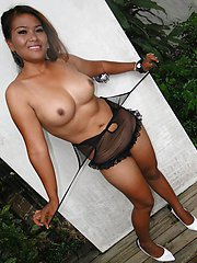 Big tit Thai girlfriend stripping and posing outdoors showing off her phat pussy