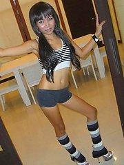 Little Thai teen named O shows off her little petite body